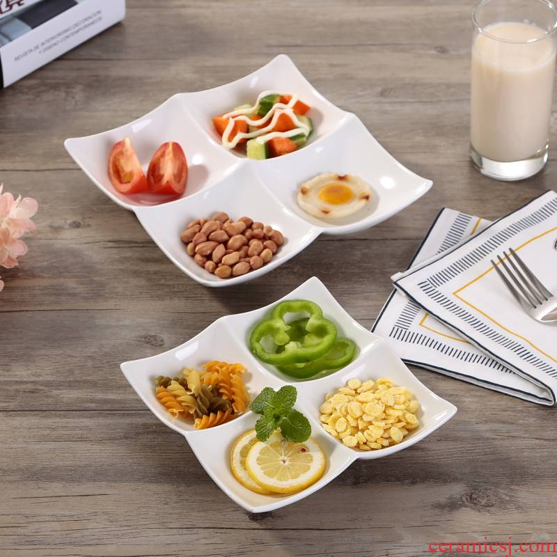 Ceramic plate, plate frame plate fast food dish seasoning cold dish bowl hotel tableware four plates food tray
