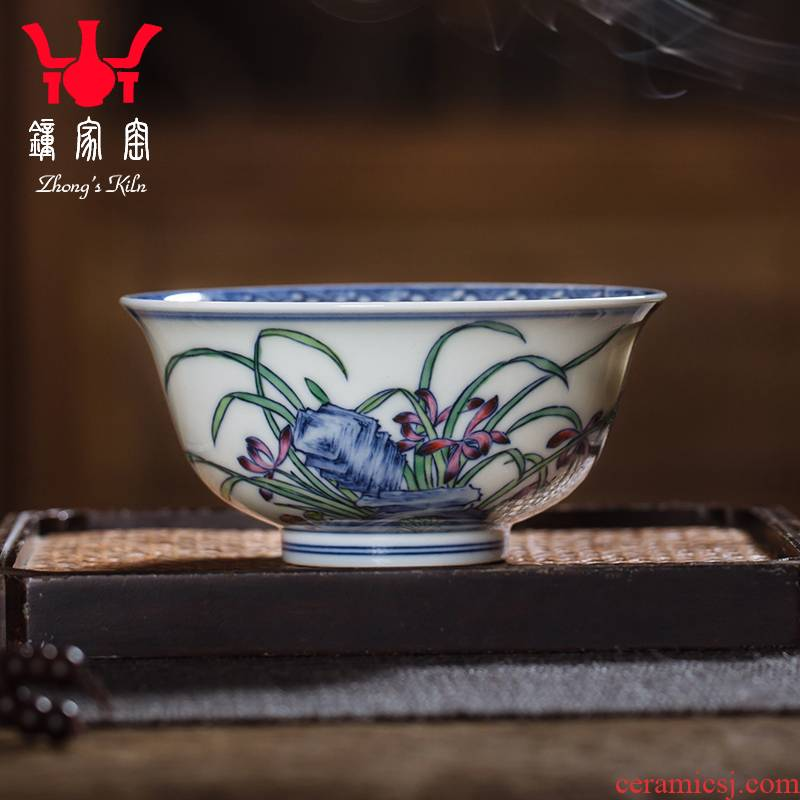 Kung fu tea cups all hand bell home up with jingdezhen ceramic cups bucket color orchids cup cup of high - end men 's master