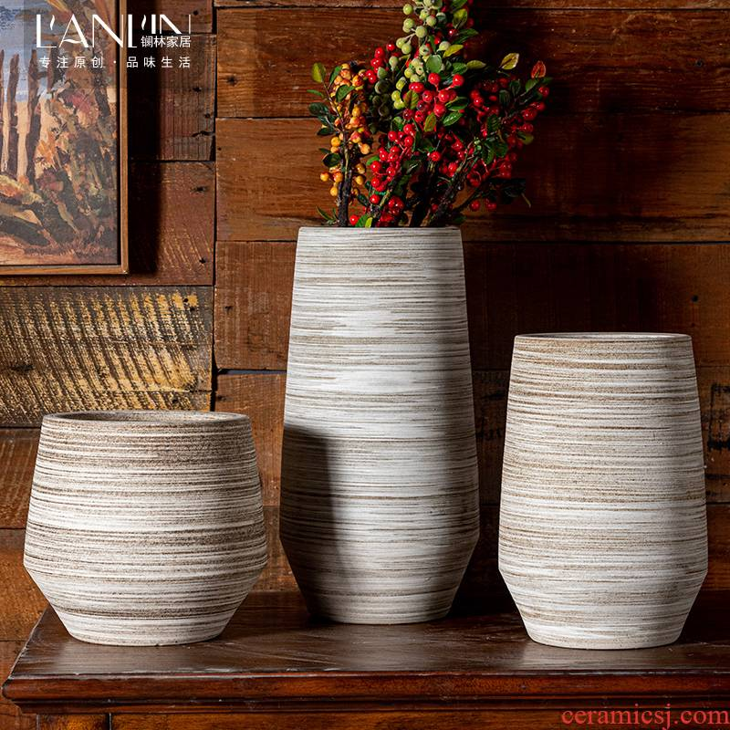 Restore ancient ways of literature and art ceramic vase household living room simulation flowers, dried flowers, flower arrangement coarse pottery decorative furnishing articles new Chinese pottery