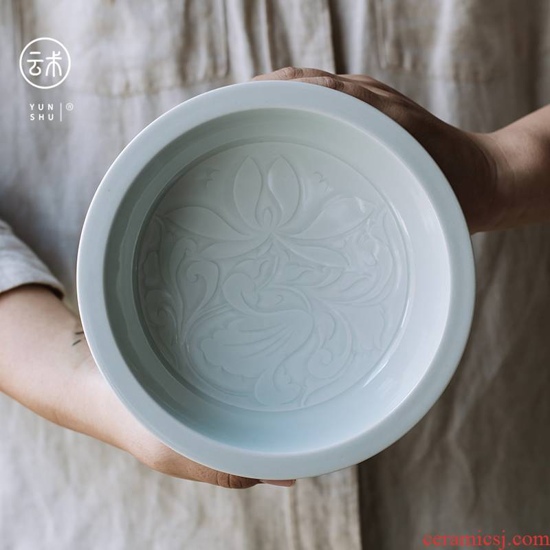 Jingdezhen left up Song Shiying green CiHu bearing hand cut tea tray was dry mercifully tea tray tea accessories