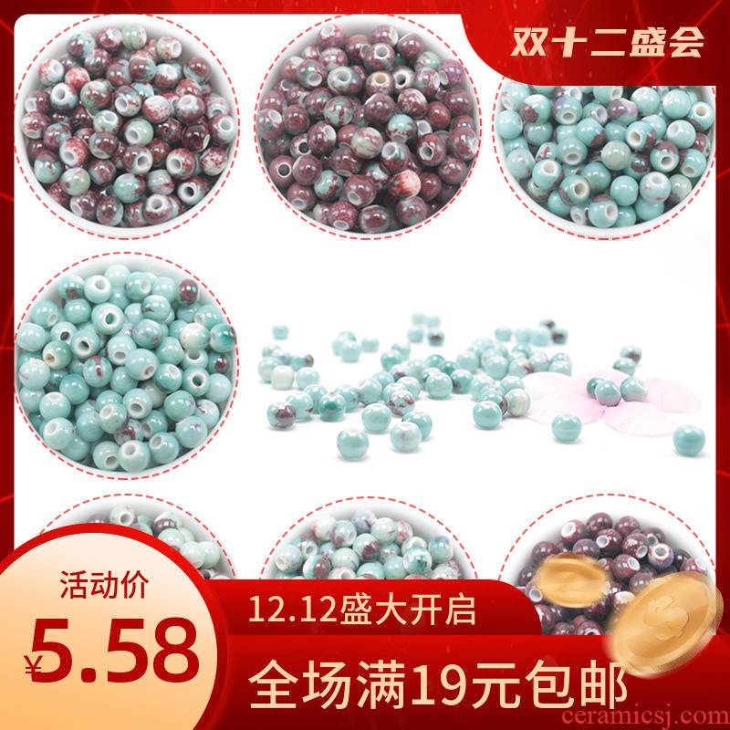 100 diy checking beaded material a bracelet of jingdezhen ceramic beads 6 mm woven accessories up scattered beads