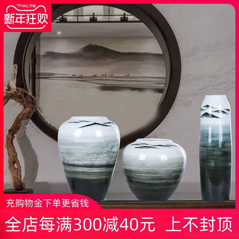 I and contracted Europe type three - piece jingdezhen ceramics vase household living room table flower adornment furnishing articles