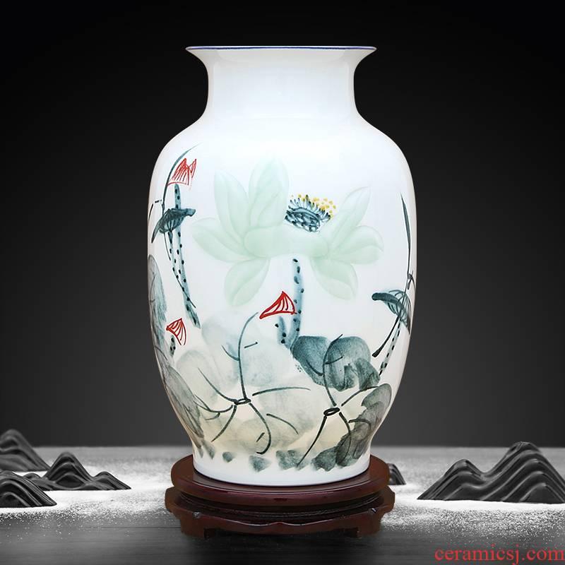 To ceramics color ink graven images lotus vase