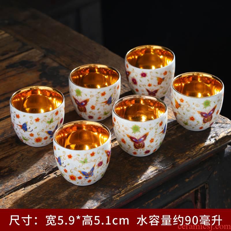 Tasted silver gilding white porcelain ceramic sample tea cup kung fu tea cups suet jade porcelain cup tea cup ceramic masters cup