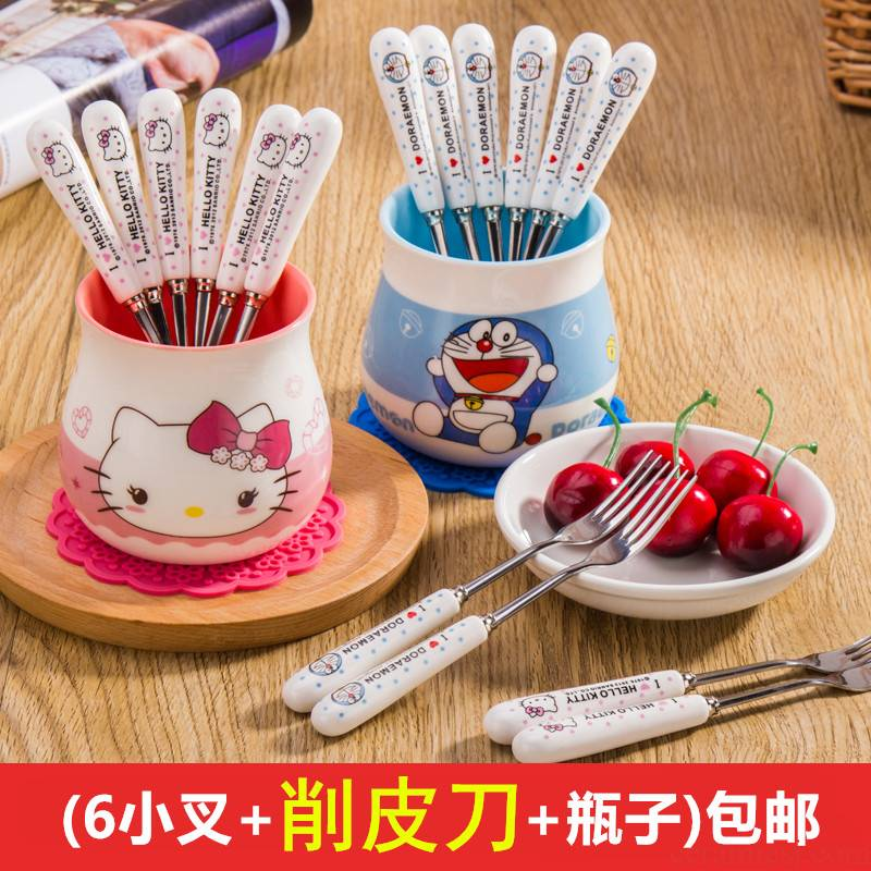 Creative cartoon ceramic stainless steel small lovely fruit dessert fork fork fork fruit dessert fork fork suit