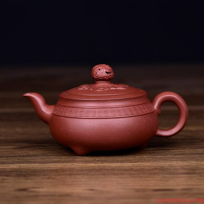 Shadow enjoy undressed ore yixing purple clay it zhai lotus Finn hand carved panlong clouds made round 285 cys teapot