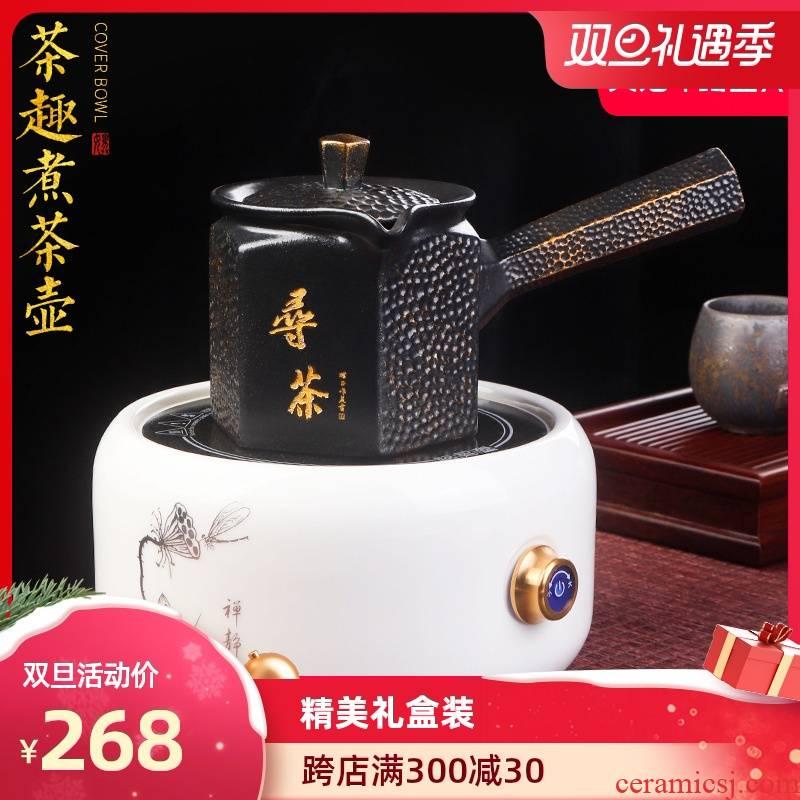 Artisan fairy side of ceramic cooking pot boil tea pot of household retro kung fu tea tea, small electric TaoLu tea stove