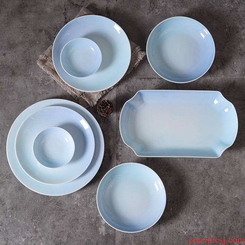 Qiao mu gradient creative ceramic tableware dish dish dish home European steak dinner plate fish dish dumpling dish