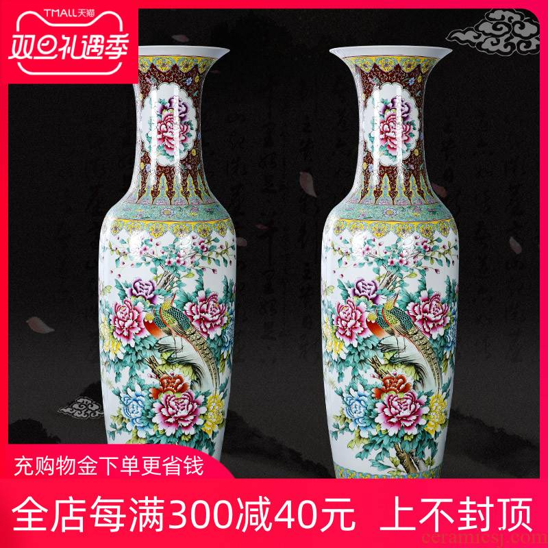 Jingdezhen ceramics landing a large vase pastel hand - made notes tong prosperous household of Chinese style living room place the lobby