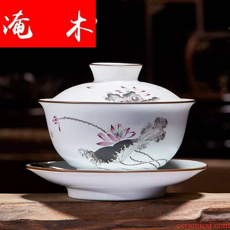 Flooded large only three tureen hand - made wooden jingdezhen ceramics powder enamel fat white bowl tea cups of tea bowl of kung fu