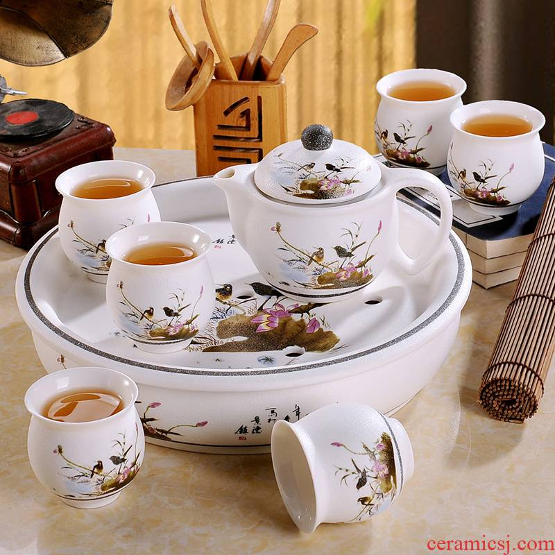 The Was suit household modern jingdezhen ceramic kung fu tea cups contracted circular teapot tea tray package