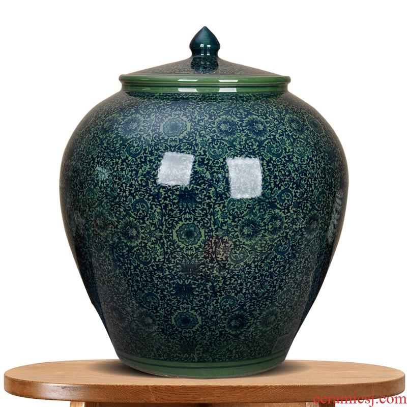 Jingdezhen ceramic caddy fixings large tea urn home store loose tea packaging puer tea pot king tea cake