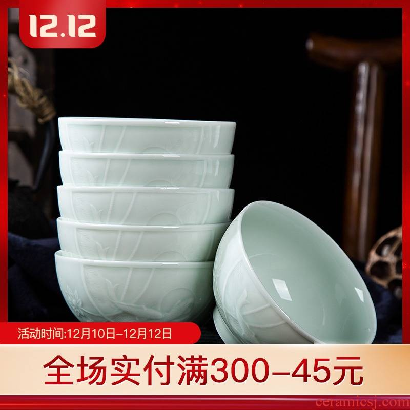 Jingdezhen ceramic bowl suit white porcelain household dormitory shadow blue small bowl high microwave tableware is available