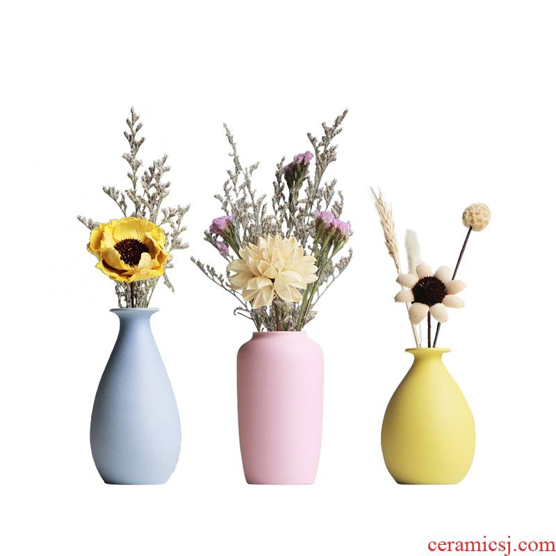 Ceramics small pure and fresh and I and contracted table flower flower bottle home sitting room adornment flowers