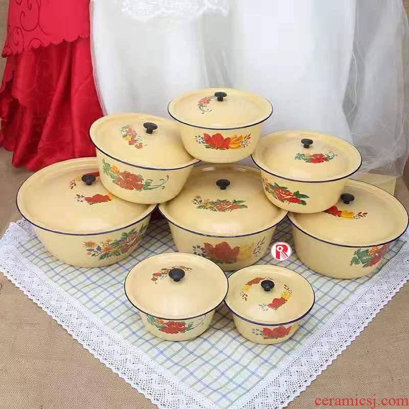 Classic nostalgic old enamel basin with cover household kitchen lard dumplings seasoning cylinder boil Chinese medicine enamel bowls