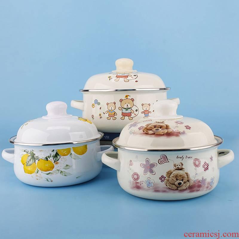 Enamel porcelain milk pan ears Enamel pot with cover household mini Enamel rainbow such as bowl bowl mercifully small hot pot home children