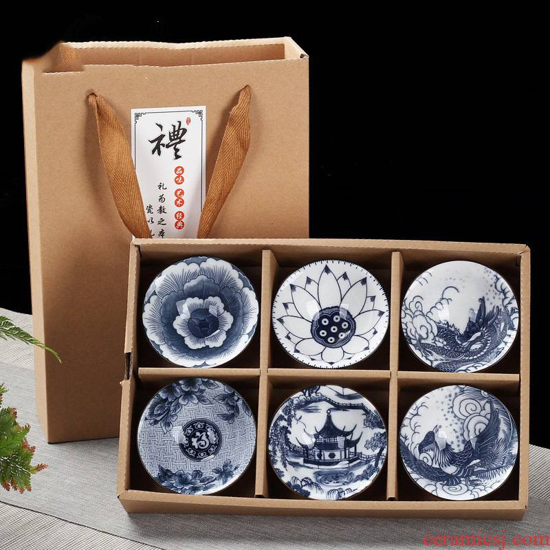 Hui shi gift boxes 10 hat to restoring ancient ways of Japanese master kung fu tea cups ceramics cup tea light blue and white porcelain