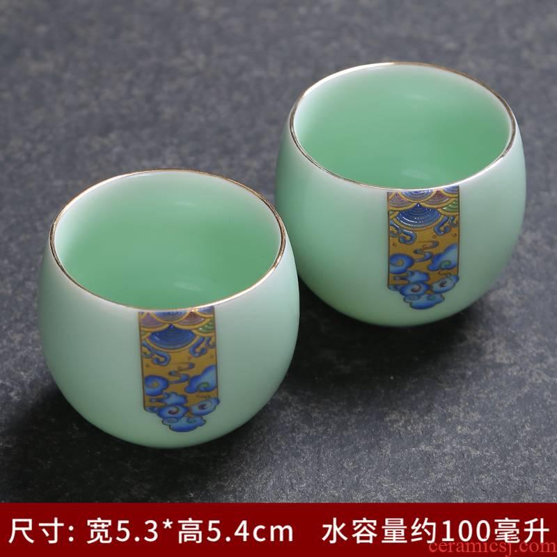 Jingdezhen kung fu tea cups white ceramic cup tea cup archaize celadon porcelain cup personal cup colored enamel single CPU