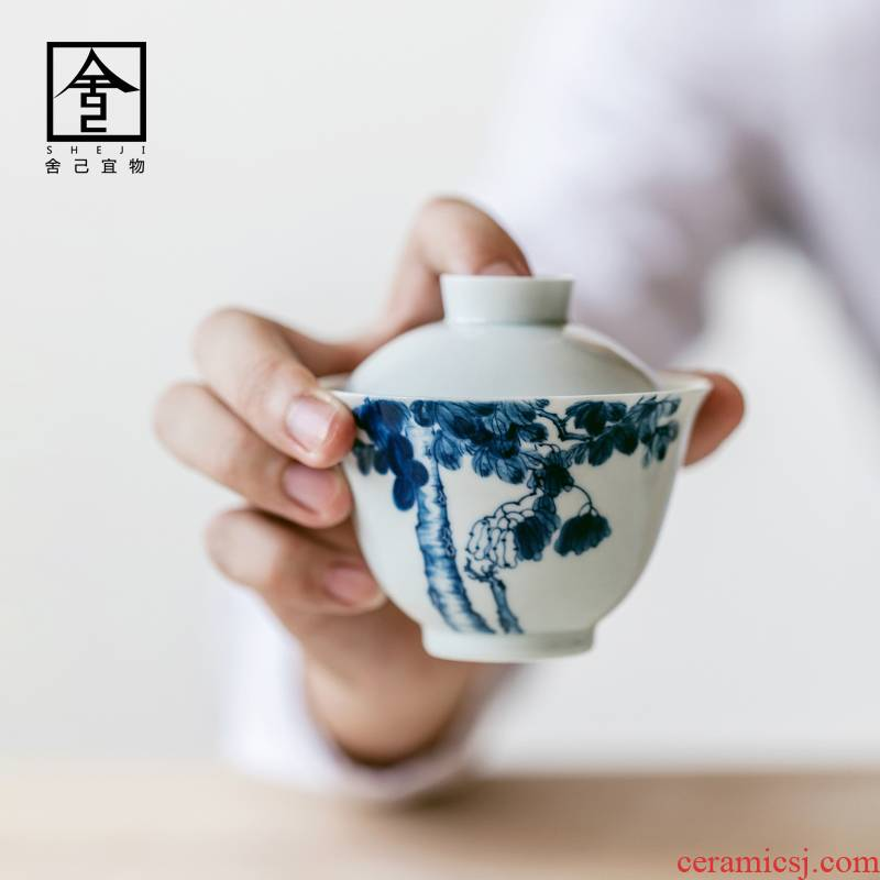 "Restoring ancient ways in self - ""appropriate content of jingdezhen tureen buttonwood hand - made manual single CPU use ceramic tea set"