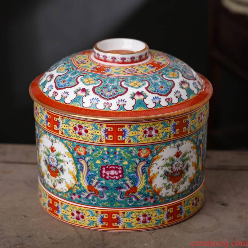 Jingdezhen enamel made pottery porcelain household pu 'er tea pot store tea king seal storage canners nine cakes