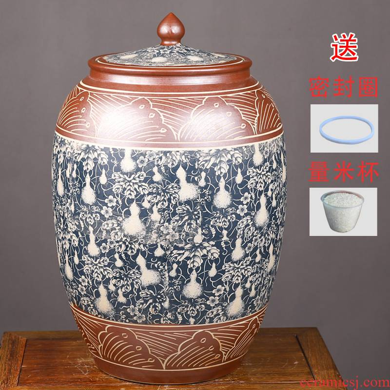 Jingdezhen ceramic barrel with cover ricer box home 50 kg pack flour barrels of archaize hand - carved seal storage tank