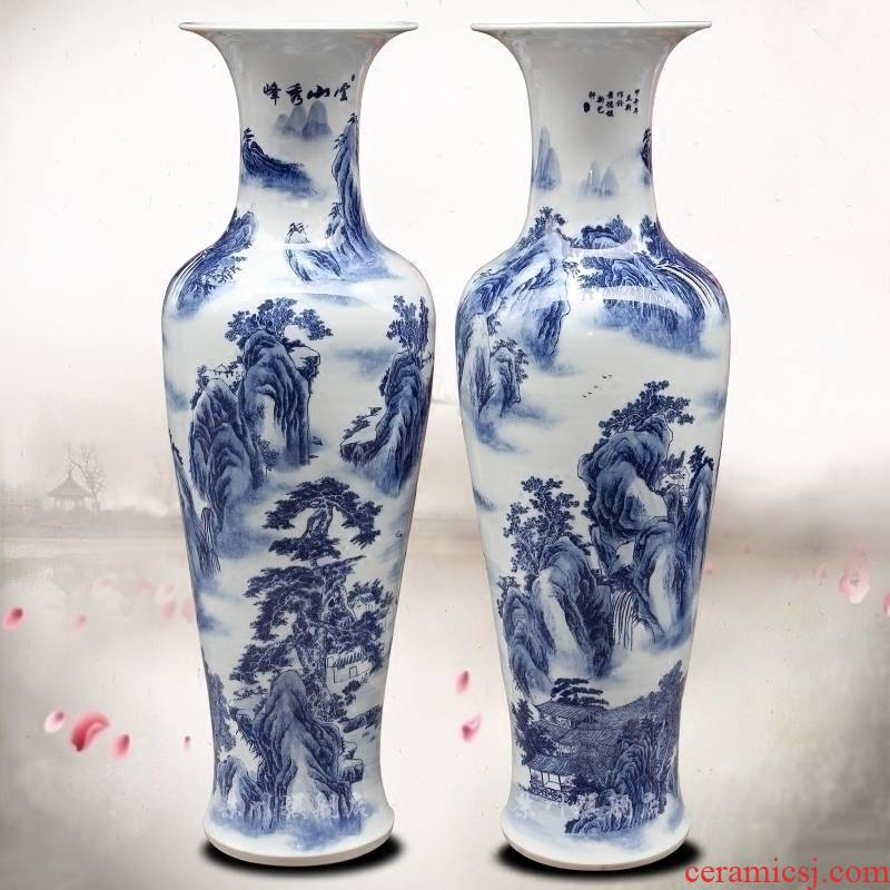 Blue and white porcelain of jingdezhen ceramics yunshan xiufeng sitting room of large vase household study flower arranging office furnishing articles