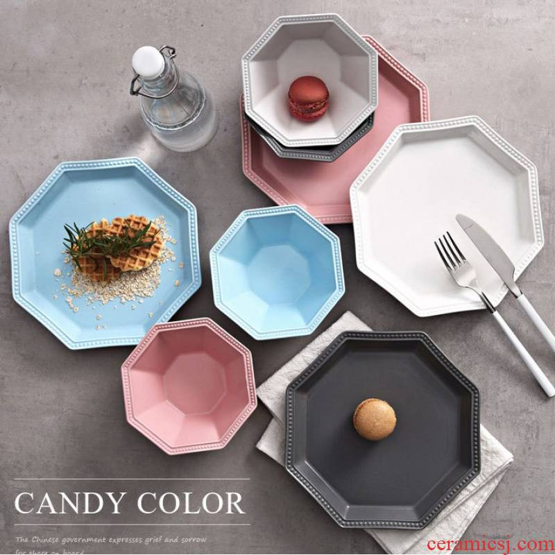 Ceramic octagon disc frosted dinner plate flat plate geometry dish plate dessert dish bowl of rice bowls dim sum dishes for breakfast