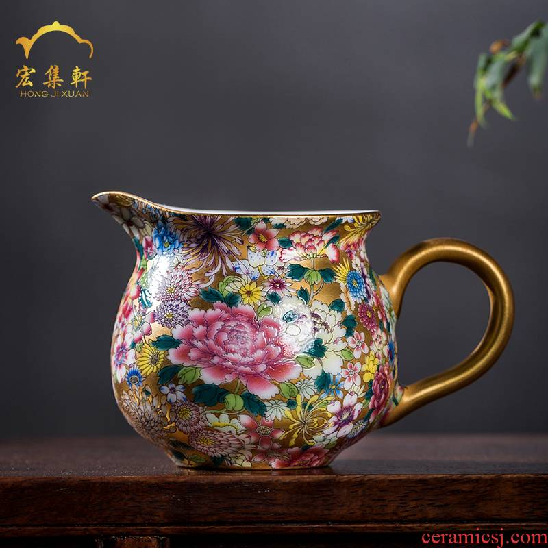 Ceramic fair keller manual male individual points tea is tea of jingdezhen sea colored enamel paint flower tea is the tea taking