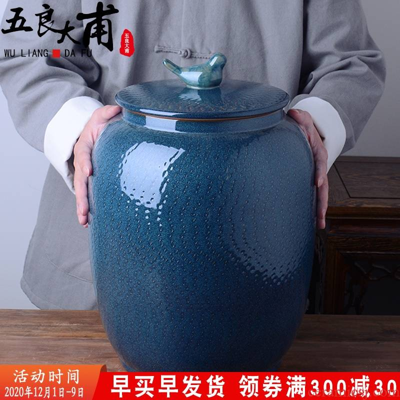 Ceramic barrel with cover home 20 jins of 30 kg to rice storage box flour barrels of old moistureproof insect - resistant seal storage tank