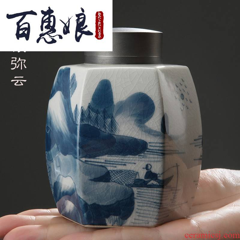 "(niang jingdezhen blue and white porcelain "", ""cloud caddy fixings creative hand - made ceramic POTS small seal pot of tea"