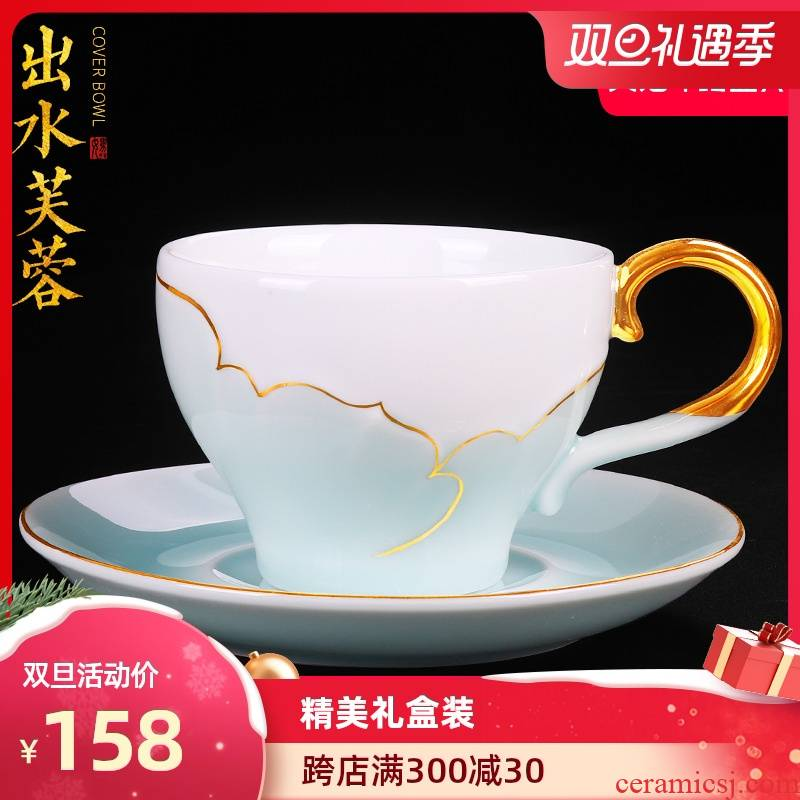 Artisan fairy fuels the coffee cup set glass ceramic household small European - style key-2 luxury with a cup of tea in the afternoon tea sets