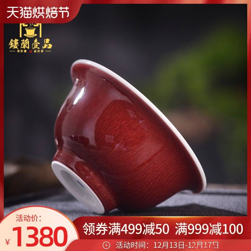 Jingdezhen up up with red glaze master cup single cup pressure hand cup cup single individual sample tea cup high - grade ceramics