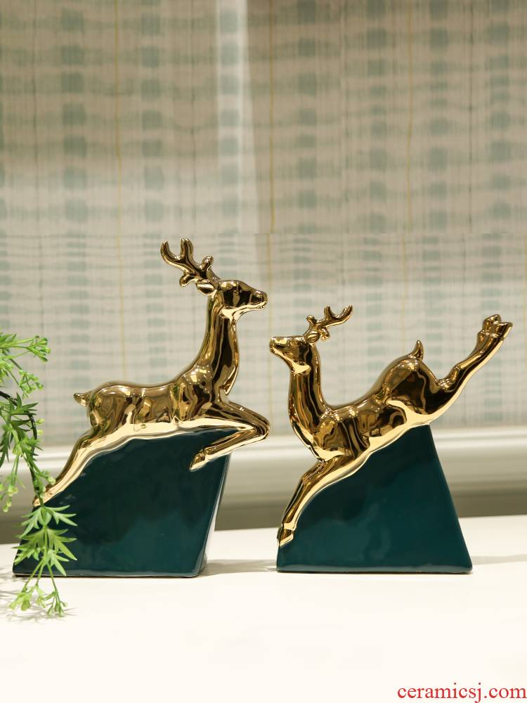 Nordic contracted household furnishing articles of golden light ceramic deer sitting room key-2 luxury wine porch decoration office decoration