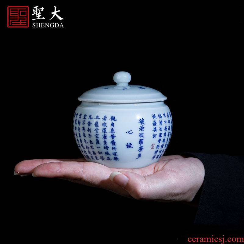 The big pure hand - made ceramic tea pot jingdezhen blue and white heart sutra caddy fixings store receives all hand tea accessories