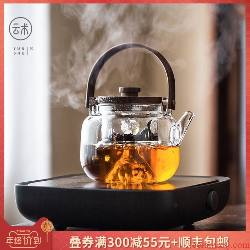 Japanese Pyrex cooking pot pot of tea separation electric TaoLu double tank transparent single girder pot pot of the teapot