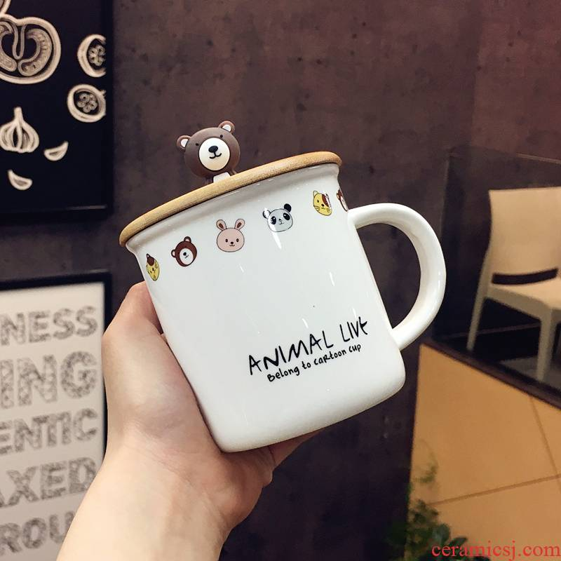 Japan and South Chesapeake express cartoon wooden cover lady girlfriends ceramic cups with cover cup tea spoon handle office mark