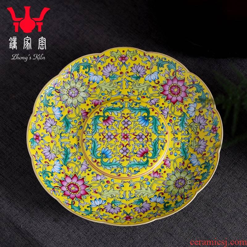 Clock home bearing jingdezhen up pot dry hand, hand draw colored enamel dish of tea tray bearing pot pot of ceramic trays