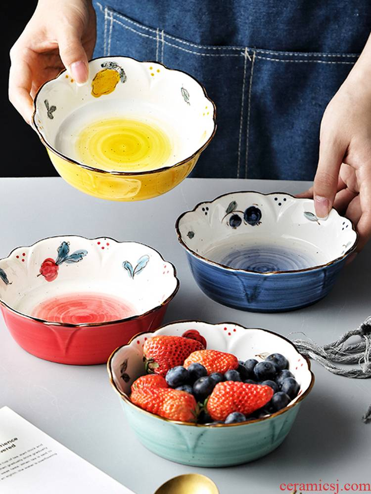 Hand - made ceramic tableware girl heart lace fruit salad bowl dessert bowl bowl irregular shaped pattern petals