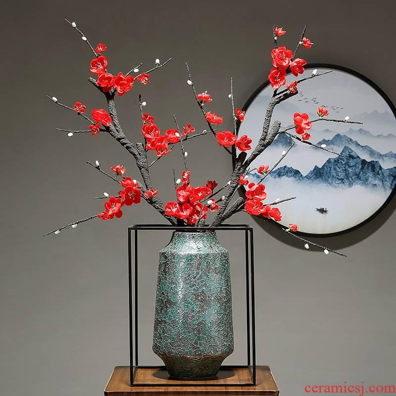 Jingdezhen dried flower vase sitting room porch decoration new Chinese zen furnishing articles of modern creative ceramics vase