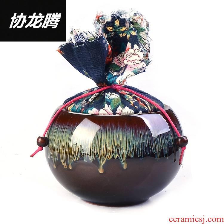 Qiao mu up caddy fixings ceramic seal pot of tea red glaze, ceramic storage tanks