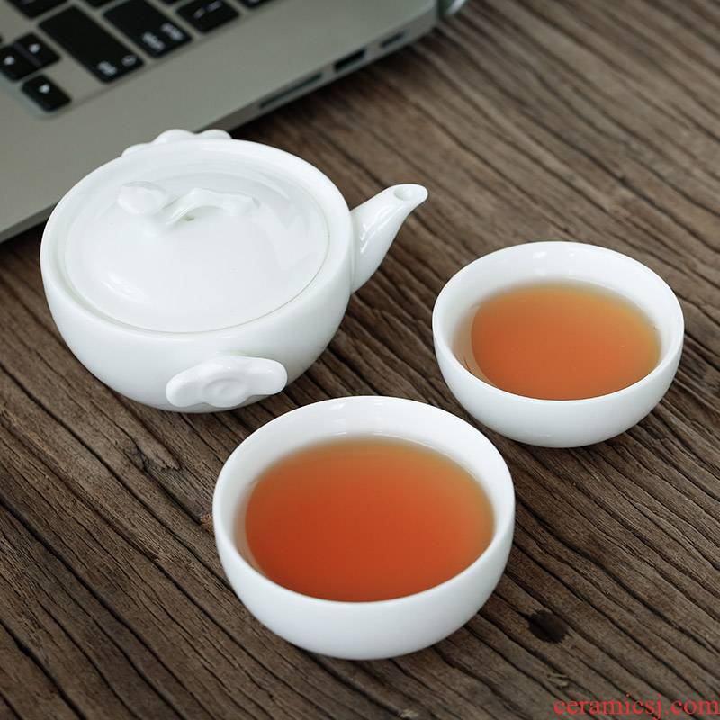 Ya xin company hall, small and pure and fresh white porcelain kung fu tea cup set a pot of two cups of dehua white porcelain household filter