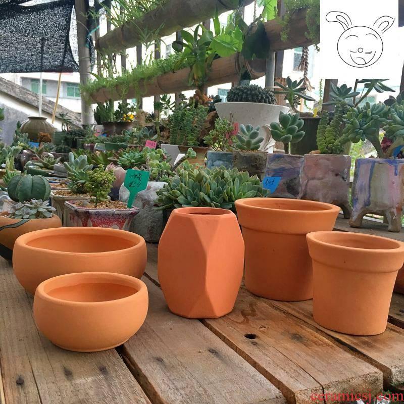 Red clay pot diamond cup round pot fleshy the plants flower pot ceramic flower pot breathable clay pot