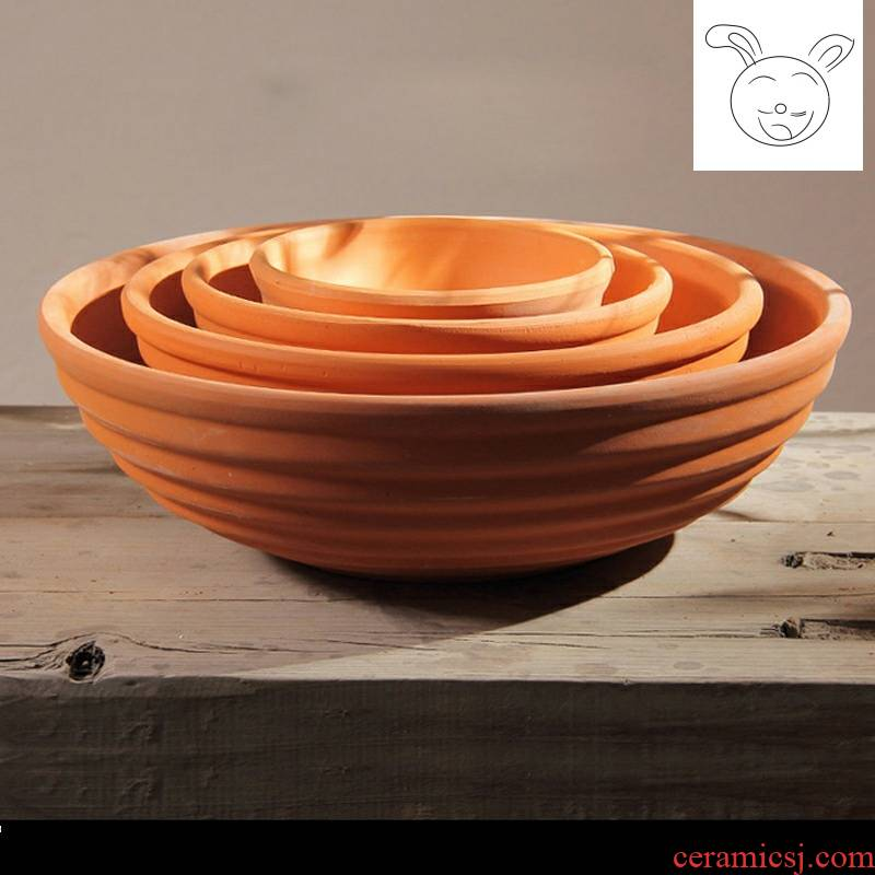 Red clay pot ceramic flower pot breathing heavy thread bowl tub, fleshy flower pot pot combination