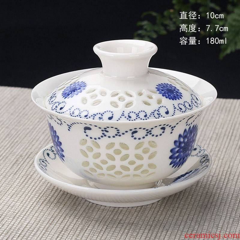 Hui shi and exquisite tureen - the sunflower kung fu tea tea accessories ceramics three bowls of your up