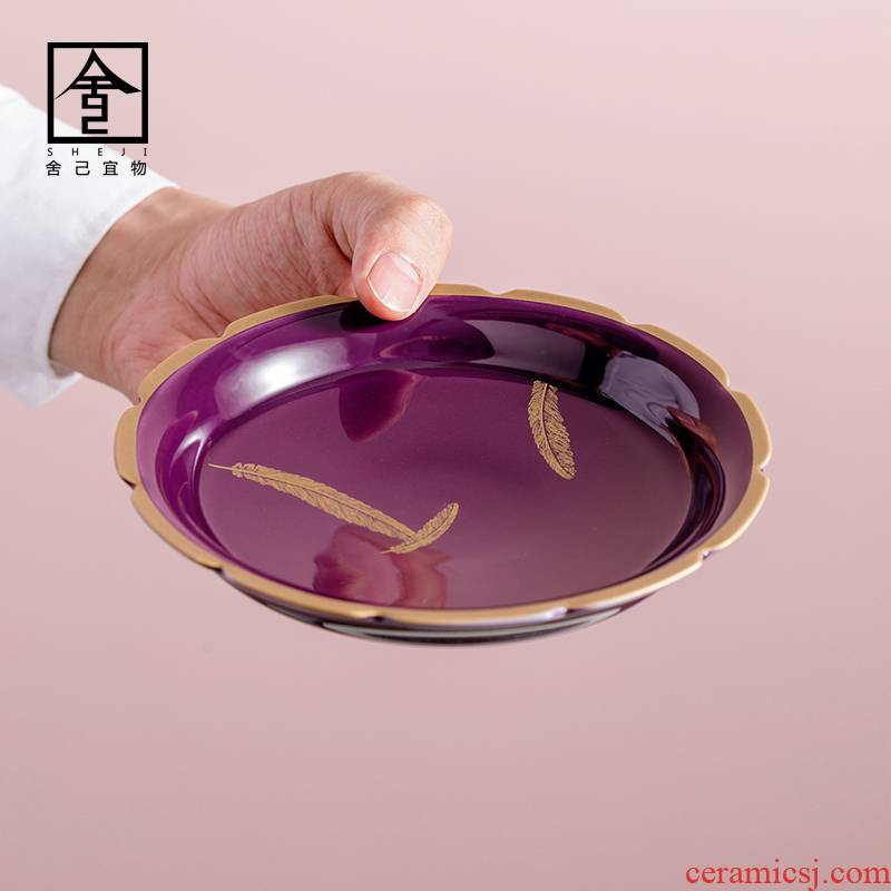 """The Self - """"appropriate content characteristics of purple Japanese dry pot bearing small ceramic tea accessories dry ground dip Taiwan tea saucer"""