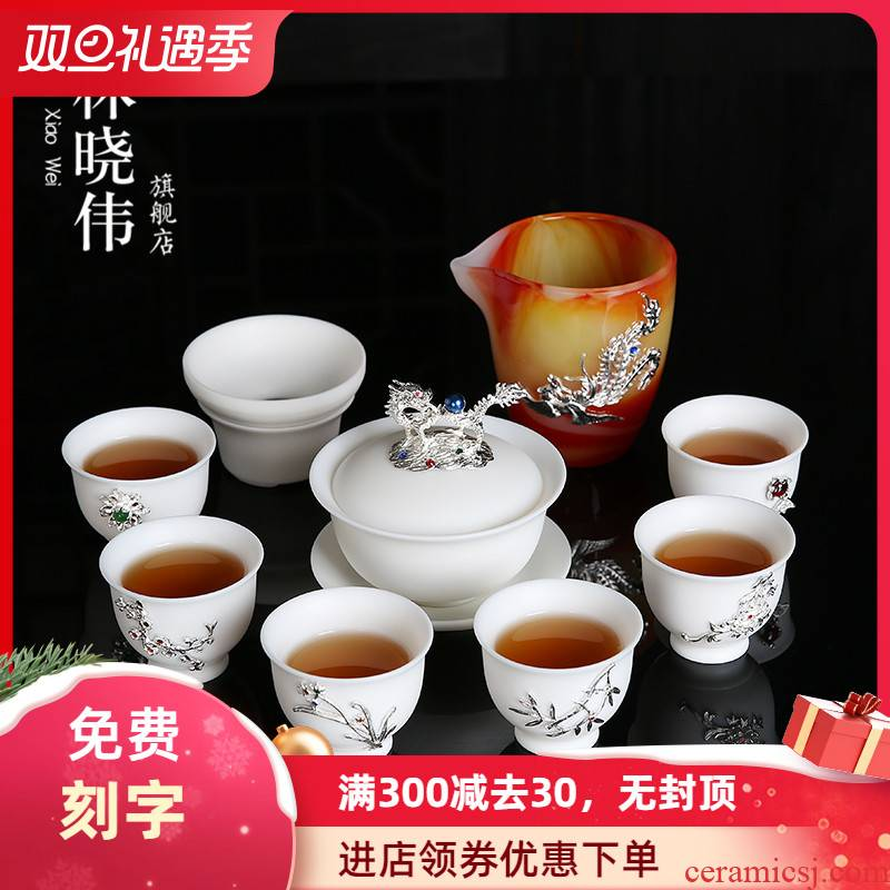 Dehua suet jade suit with silver white porcelain ceramic tureen kung fu tea set the home office of a complete set of cups