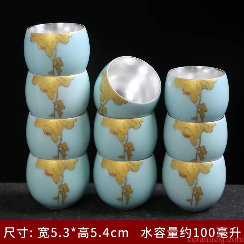Longquan celadon kung fu tea glass ceramic sample tea cup small cups personal cup tea accessories master CPU