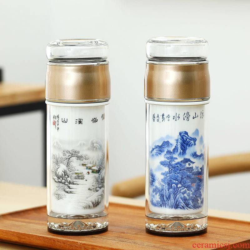 Double keep - a warm glass ceramic tea cup tea separation tank insulation cup men 's lady work glass glass