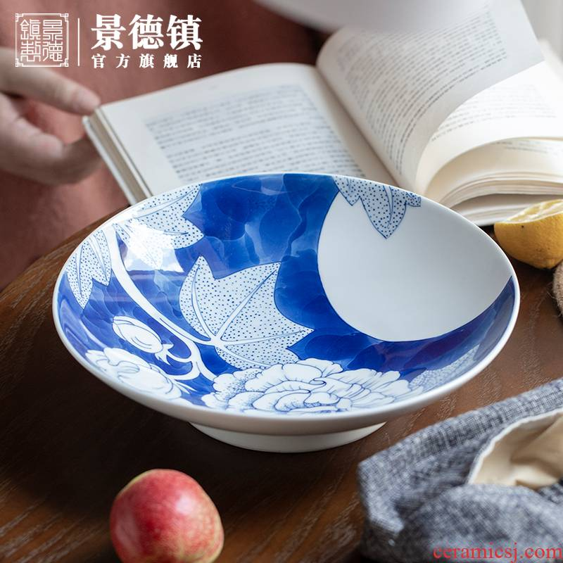 Jingdezhen blue and white big flagship store hand - made compote Chinese style household ceramics compote dish dish creative dishes sitting room