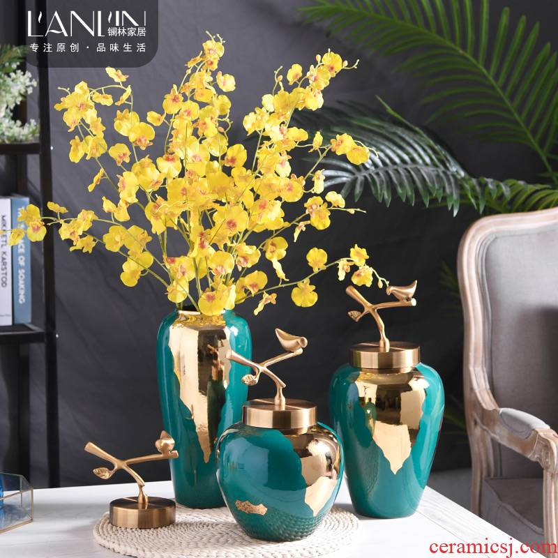 New Chinese style ceramic blackish green, floret bottle furnishing articles European style living room table vase dried flower flower implement home decoration